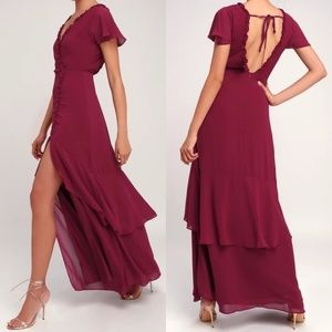 Pour the Champagne Burgundy Ruffled Backless Maxi